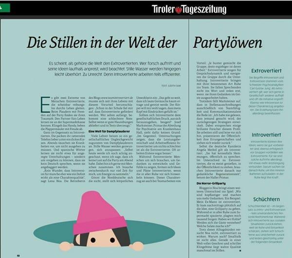 Artikel Tiroler Tageszeitung | Team Introvertiert
